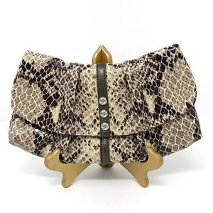 Brighton Python Embossed Patent Leather Clutch